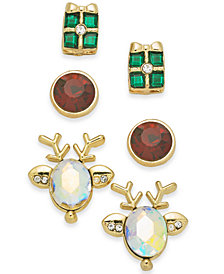 Holiday Lane Gold-Tone 3-Pc. Set Holiday Reindeer & Present Stud Earrings, Created for Macy's