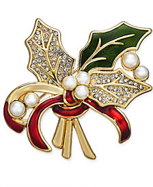 Holiday Lane Gold-Tone Imitation Pearl, Crystal & Epoxy Holly Pin, Created for Macy's