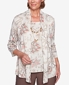 Alfred Dunner Floral-Print Layered-Look Necklace Top