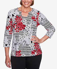 Alfred Dunner Classics Floral-Print Embellished Top