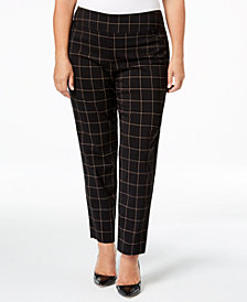 Charter Club Plus Size Cambridge Pull-On Plaid Pants, Created for Macy's