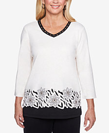 Alfred Dunner Petite Embellished Layered-Hem Top