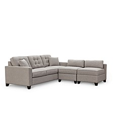 "Clarke II 93"" Fabric Estate Sofa with Two Storage Armless Chairs, Created for Macy's"