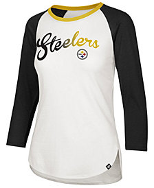 '47 Brand Women's Pittsburgh Steelers Splitter Ombre Raglan T-Shirt