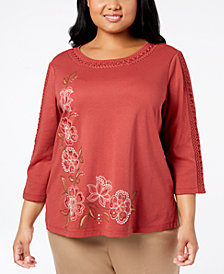 Alfred Dunner Plus Size Sunset Canyon Crochet-Trim Top