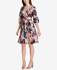 Vince Camuto Belted Floral Fit & Flare Dress