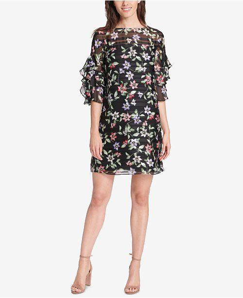 Shift Multi Camuto Vince Sleeve Ruffle Print Black Dress Floral pR6TwX7