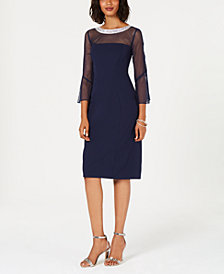 Alex Evenings Embellished Illusion Sheath Dress