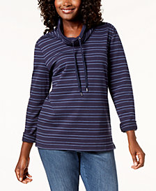 Karen Scott Striped Drawstring Funnel-Neck Top, Created for Macy's