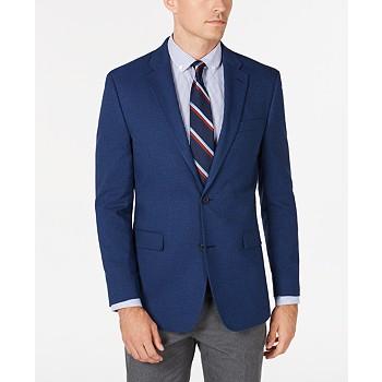 Tommy Hilfiger Mens Modern-Fit THFlex Stretch Blue Plain Sport Coat
