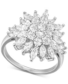 Cubic Zirconia Floral Cluster Statement Ring in Sterling Silver
