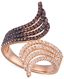 Cubic Zirconia Bypass Ring in 14k Rose Gold-Plated Sterling Silver