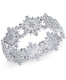 Charter Club Silver-Tone Crystal Snowflake Stretch Bracelet, Created for Macy's