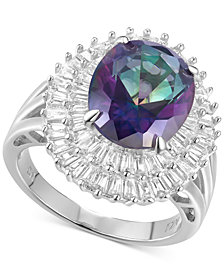 Cubic Zirconia Rainbow CZ Baguette Statement Ring Sterling Silver