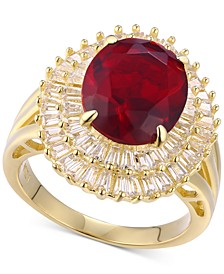 Cubic Zirconia Simulated Garnet Baguette Statement Ring 14k Gold-Plated in Sterling Silver