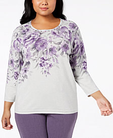 Alfred Dunner Plus Size Smart Investments Embellished Floral-Print Sweater