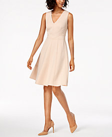 Calvin Klein Petite V-Neck Scuba Fit & Flare Dress