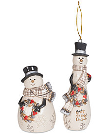 Fitz and Floyd 2-Pc. Wintry Woods Snowman Ornament