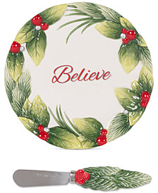 Fitz and Floyd Tartan Christmas Believe Snack Plate & Spreader