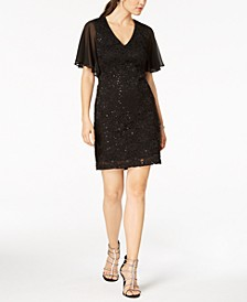 Flutter-Sleeve Embellished Lace Dress
