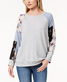 Style & Co Patchwork-Sleeve Sweatshirt, Created for Macy's
