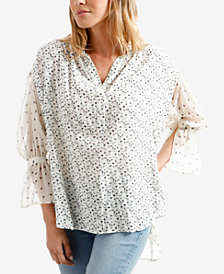 Lucky Brand Mix-Print Flared-Sleeve Peasant Blouse