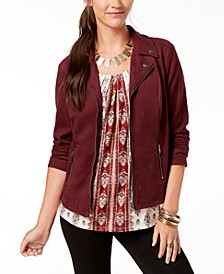 Petite Faux Suede Moto Jacket, Created for Macy's
