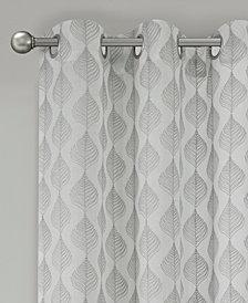 "Madison Park Nadal 50"" x 63"" Leaf Embroidered Grommet Sheer Window Curtain"