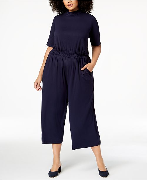 8aed686d217 Eileen Fisher Plus Size Stretch Jersey Wide-Leg Jumpsuit   Reviews ...