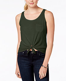 Rebellious One Juniors Tie-Front Tank Top