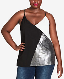 City Chic Trendy Plus Size Colorblocked Top