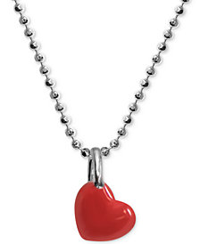 "Alex Woo Red Enamel Heart 16"" Pendant Necklace in Sterling Silver"