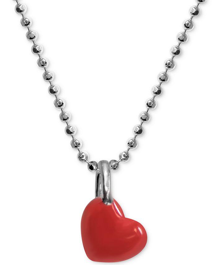"Alex Woo - Red Enamel Heart 16"" Pendant Necklace in Sterling Silver"