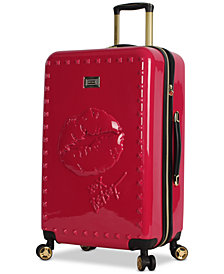 "Betsey Johnson Lips 26"" Hardside Expandable Spinner Suitcase"