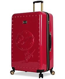 """Betsey Johnson Lips 30"""" Hardside Expandable Spinner Suitcase"""