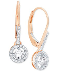 Diamond Round Drop Earrings in 14k White Gold, Yellow Gold or Rose Gold (1/2 ct. t.w.)