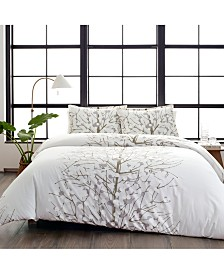 Marimekko Lumimarja Cotton 3-Pc. Silver Full/Queen Duvet Cover Set