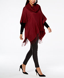 V. Fraas Cowl-Neck Fringe Knit Poncho, Created for Macy's