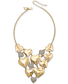 "Thalia Sodi Gold-Tone Pavé Heart 11"" Choker Necklace, Created for Macy's"