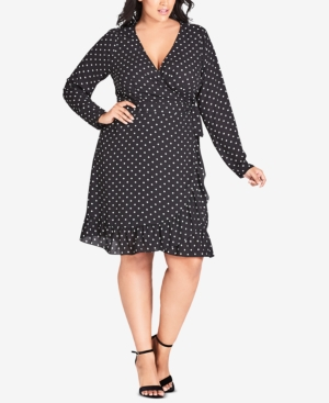 Polka Dot Dresses: 20s, 30s, 40s, 50s, 60s City Chic Trendy Plus Size Polka-Dot Ruffled Wrap Dress $119.00 AT vintagedancer.com