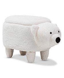 Kewl Polar Bear Storage Ottoman, Quick Ship
