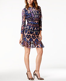 Just Cavalli Printed Fit & Flare Dress