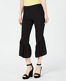 I.N.C. Cropped Ruffle-Hem Crêpe Pants, Created for Macy's