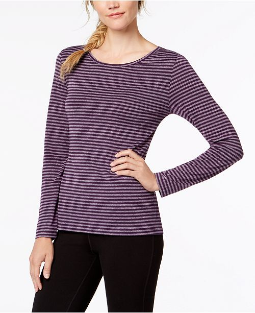 Back T Stripe for Ideology Shirt Striped Eggplant Cutout Macy's Sleeve Long Created qUpnE6pA