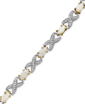 Victoria Townsend 18k Gold over Sterling Silver Bracelet, Opal (2 ct. t.w.) and Diamond Accent Bracelet