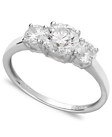 Arabella 14k White Gold Ring, Swarovski Zirconia Small Three Stone Ring (2-3/8 ct. t.w.)