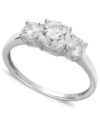 Arabella 14k White Gold Ring Swarovski Zirconia Small Three Stone