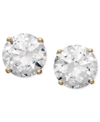 14k Gold Earrings, Swarovski Zirconia Round Stud Earrings (3-1/2 ct. t.w.)