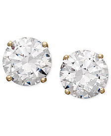 Arabella 14k Gold Earrings, Swarovski Zirconia Round Stud Earrings (3-1/2 ct. t.w.)