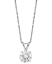 14k White Gold Necklace, Swarovski Zirconia Round Pendant (2-1/6 ct. t.w.)